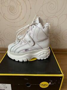 Buffalo Platform Boots Hight Sneakers White Leather Size US 7 EU 38