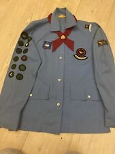 More details for vintage girl guide shirt with badges, tie, promise badge collectors item 1970s