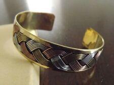 Solid Copper Tricolor Cuffed Health Bracelet - Men Women Copper Bracelet Braided