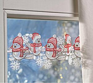 Scheibenhänger WINTER-SPATZEN 40x12 cm Plauener Spitze Weihnachtsdeko Fenster