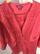 Monsoon 100% Silk Size 18 Red / Cerise 3/4 Long Sleeved Light Tunic Top Blouse