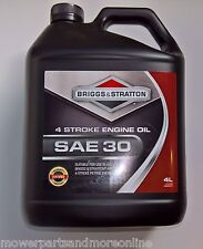 BRIGGS 4ltr SAE30 4 STROKE MOWER ENGINE OIL ALSO SUITS KOHLER  HONDA KAWASAKI