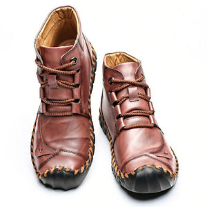 Men's Genuine Leather British Style Casual Shoes Handsewn Ankle Boots Casual