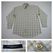 Burberry London Mens White Plaid Button Front Long Sleeve Casual Shirt Large USA