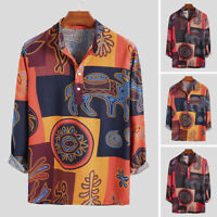 Men's Vintage Long Sleeve Linen Shirt Floral Causal Party Hippy Tee Tops Blouse