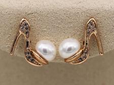 18K Gold Filled Earrings Pearl Mini High-heeled Shoes Ear Stud Fashion Women RE