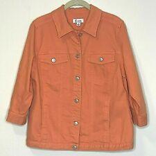 Denim and Co Womens Denim Jacket Small Orange 3/4 Sleeve Cotton Blend