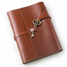 Ancicraft Leather Journal Diaries with Vintage Key A5 Lined Paper Red Brown Gift