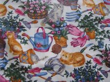 "Texstyles Fabric Piece 42"" x 26"" Scrap Kittens Gardening Tools Flowers Baskets"