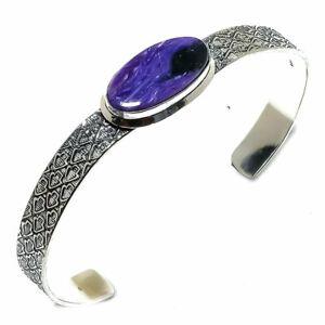 Russian Charoite Gemstone Handmade Ethnic Cuff Bracelet Adjustable