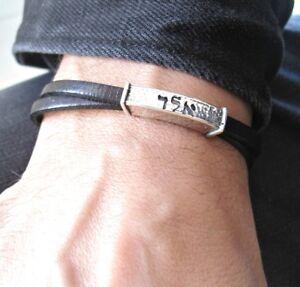 72 Names God Kabbalah Talisman bracelet silver black leather handmade Miraculous