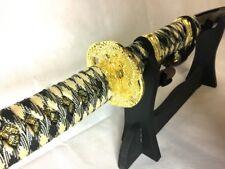 Samurai Sword Katana Blade w/ Scabbard and Strap Gold
