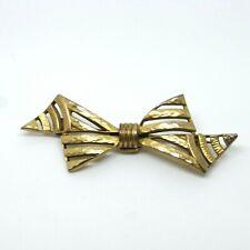 - Vintage Pin / Badge Antique Gold Bow Tie Brooch