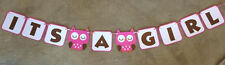 "Owl ""ITS A GIRL"" BANNER. Great for baby shower."
