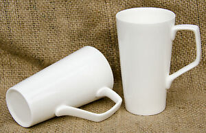 Pair of Plain White Bone China Latte Mugs