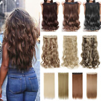 100% Real One Piece Clips in Hair Extensions Blonde As Human Hairpiece Full Head