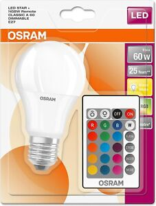 Osram LED Star Colour Changing GLS ES E27 A60 Bulb RGBW Dimmable Remote Control