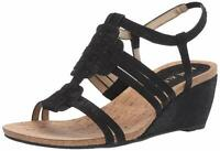 Anne Klein Women's Tilly Wedge Sandal, Black Fabric, Size 7.5 XK5b