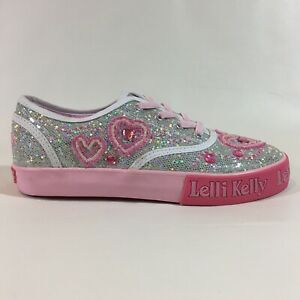 Gilrs Lelli Kelly Shoes Euro Size 33 Us Size 2 Silver Pink Sneakers Hearts
