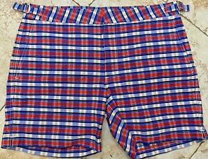 New Polo Ralph Lauren Plaid Red Blue Swim Shorts Trunks Size 32