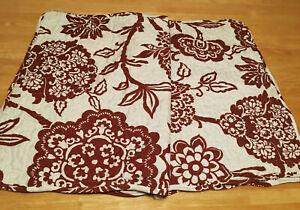 Quilted Jacobean Floral Std Shams (2) Ivory Dark Sienna Scalloped Microfiber