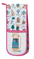 Ulster Weavers Cozy Cat Double Oven Gloves Mitts Pot Holders 100% Cotton Gift