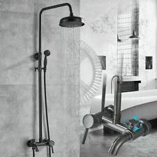 "Black Shower Faucet Set Wall Mount 8"" Rainfall Showerhead Handshower Tub Mix Tap"