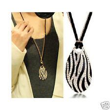 Diamonds Black and White Stripes Zebra Long Necklace