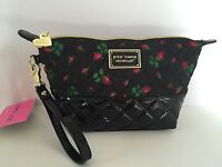 Betsey Johnson Wristlet Cosmo Trapezoid Clutch Cosmetic Makeup Bag Black Roses