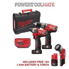 Milwaukee 12v Li-ion Impact Driver & Compact Combi Drill 2 Batteries