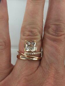 10KT Rose Gold 2.08 CTW Genuine Morganite & Diamond Ring Size 7.5 $1199 Retail