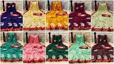 Designer Silk Embroidery Sari Bollywood Wedding Saree with Bandhej Blouse GF