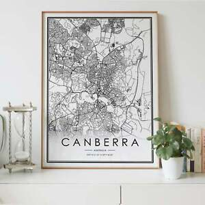 Canberra City Lines Map Wall Art Poster Print. Great Home Decor
