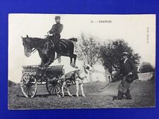 Postcard Military Cavalry Officer Jumping over Donkey 1910 Saumur Horse