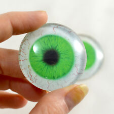 Pair of 40mm Green Human Glass Eyes with Whites Cabochon Set - Jewelry, Dolls