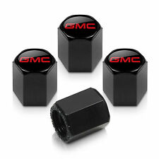 GMC Red Logo Black Tire Stem Valve Caps
