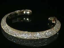 Swarovski Elements Crystaldust Open Cuff Bracelet Gold Plated Trendy Jewelry