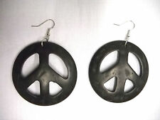 NEW BIG BOLD PEACE SIGN SYMBOL BLACK COLOR COCONUT WOOD DANGLING HIPPIE EARRINGS