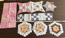 10 VTG Handmade Grandmother's Flower Garden quilt BLOCKS Nine Patch++ Fabric