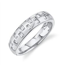Womens 14K White Gold Baguette Diamond Wedding Ring Band Size 7 Bezel Natural