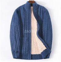 Mens Fleece Fur Lining Cardigan Coat Stand Collar Sweater Jacket Winter Warm Hot