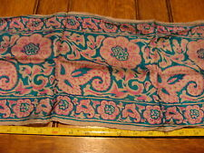"""Vintage Scarf: aprox. 8 X 58"""", pink and blue w/ small stain"""