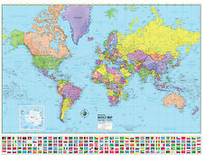WORLD Wall Map Poster Political FLAGS Home Office School - 48x36 Rolled