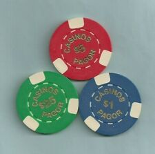New listing Lot of 3 Casinos Pagor $1 $5 $25 Poker Chips