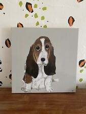 More details for orginal basset hound painting on canvas