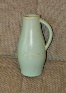 Vintage Green Pottery Stoneware Vase Excellent H 20cm