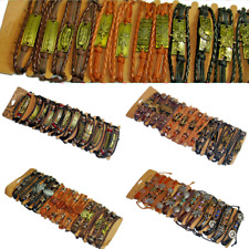 Bracelet Leather Braided Surfer Wristband men women adjustable Assorted 12 Pack