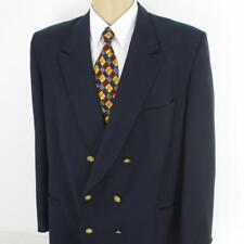 46 R Le Baron Vtg Navy Blue Wool Double Breasted Mens Jacket Sport Coat Blazer