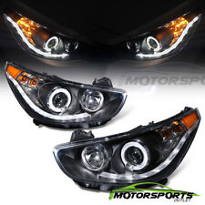 For 2012-2014 Hyundai Accent Sedan/Hatchback LED Halo Projector Black Headlights