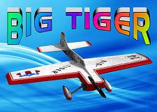 "Model Airplane Plans Big Tiger Stunter Span 48"" .35 Plans & Building Notes"
